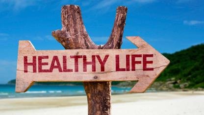 Wooden Sign Healthy Life Beach