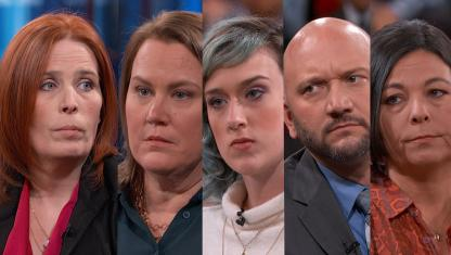 A group of people on Dr. Phil's stage.