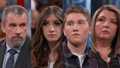 A photo collage of a family on Dr. Phil's stage.