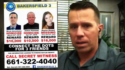 Image of a wanted ad and a man.