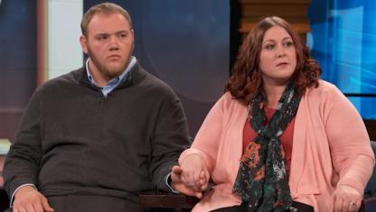Photo of two guests on Dr. Phil's stage.