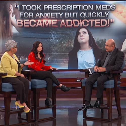 Dr. Freda Lewis-Hall on stage with Dr. Phil and guest
