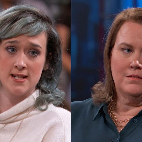 Two women talking on Dr. Phil's stage
