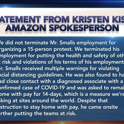 Statement From Kristen Kish, Amazon Spokesperson