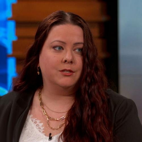 A woman on Dr. Phil's stage.