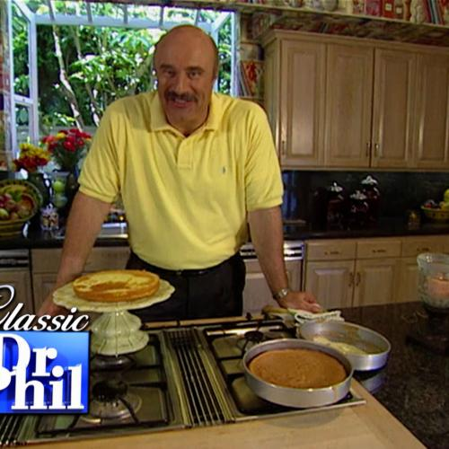 Dr. Phil baking a cake