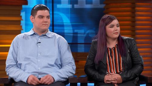 Young man and young woman on Dr. Phil stage