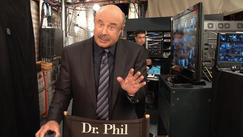 Dr. Phil speaking to camera backstage