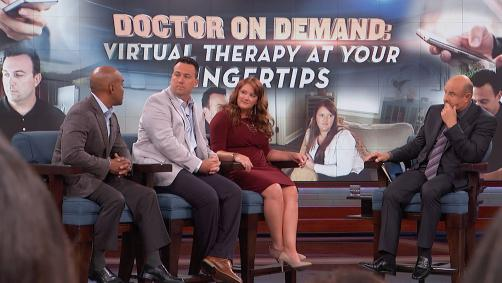 Dr. Phil, Dr. Ian Tong and guests on Dr. Phil's stage