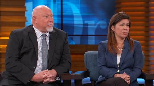 Man and woman on Dr. Phil stage