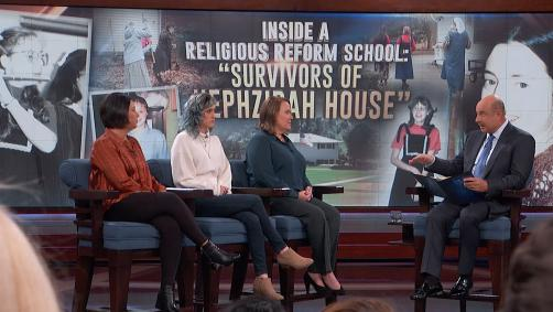 Three women on Dr. Phil's stage speaking with him