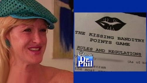 A woman wearing a hat and smiling next to a photo of the rules to a kissing game.