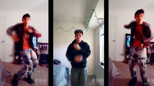 Three images of a young man dancing.